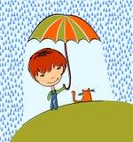 Muchacho con el gato ilustración del vector
