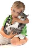 Muchacho con el gato Imágenes de archivo libres de regalías
