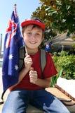 Muchacho con el indicador australiano Foto de archivo libre de regalías