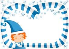 Muchacho con el marco de la bufanda y de la Navidad de los copos de nieve ilustración del vector