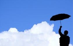 Muchacho con el paraguas (con el clipp Foto de archivo libre de regalías