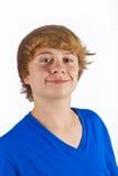 Muchacho con el pelo rubio y la camisa azul Imagenes de archivo