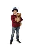 Muchacho con el pequeño perro Fotografía de archivo