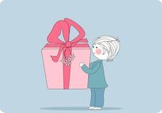 Muchacho con el rectángulo de regalo gigante ilustración del vector
