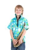 Muchacho con el saxofón Fotos de archivo libres de regalías