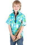 Muchacho con el saxofón Foto de archivo libre de regalías