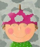 Muchacho con el sombrero rosado del paraguas Imágenes de archivo libres de regalías