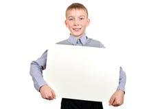 Muchacho con el tablero en blanco Imagenes de archivo