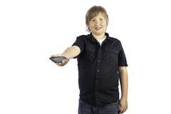 Muchacho con el teléfono celular Imagen de archivo