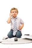 Muchacho con el teléfono celular Fotografía de archivo libre de regalías