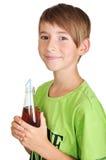 Muchacho con la botella Fotografía de archivo