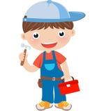 muchacho con la caja de herramientas en el fondo blanco Fotografía de archivo libre de regalías