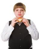 Muchacho con la hamburguesa Imagenes de archivo
