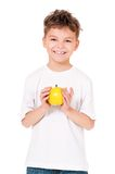 Muchacho con la manzana Imagen de archivo