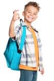 Muchacho con la mochila Foto de archivo libre de regalías