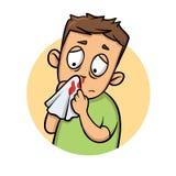 Muchacho con la nariz de la sangría Icono del diseño de la historieta Ejemplo plano del vector Aislado en el fondo blanco libre illustration