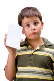 Muchacho con la tarjeta en blanco 4 Foto de archivo libre de regalías