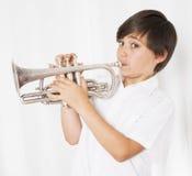 Muchacho con la trompeta Fotografía de archivo libre de regalías