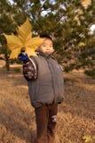 Muchacho con las hojas grandes Foto de archivo libre de regalías