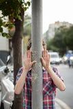 Muchacho con las manos para arriba Fotografía de archivo libre de regalías