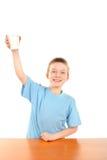 Muchacho con leche Imagen de archivo libre de regalías