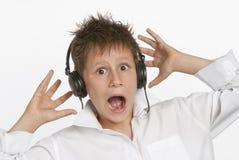Muchacho con los auriculares Imágenes de archivo libres de regalías
