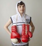 Muchacho con los guantes de boxeo Fotos de archivo