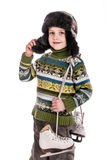 Muchacho con los patines, fondo aislado Foto de archivo libre de regalías