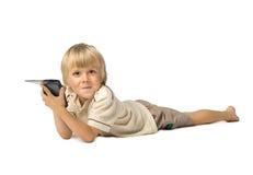 Muchacho con PDA imagen de archivo libre de regalías