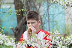 Muchacho con rinitis alérgica en jardín de la primavera Fotos de archivo