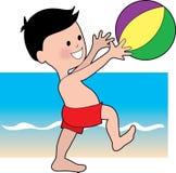 Muchacho con un Bal de la playa stock de ilustración