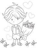 Muchacho con un ramo de flores que colorean la página Foto de archivo libre de regalías