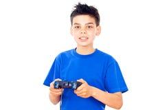 Muchacho con una palanca de mando Fotos de archivo libres de regalías