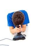 Muchacho con una palanca de mando Foto de archivo libre de regalías