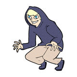 muchacho dañoso de la historieta cómica en top con capucha Foto de archivo