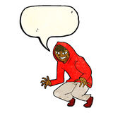 muchacho dañoso de la historieta en top con capucha con la burbuja del discurso Fotos de archivo
