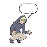 muchacho dañoso de la historieta en top con capucha con la burbuja del discurso Imagenes de archivo