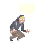 muchacho dañoso de la historieta en top con capucha con la burbuja del discurso Fotografía de archivo libre de regalías