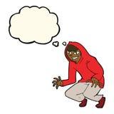muchacho dañoso de la historieta en top con capucha con la burbuja del pensamiento Imagen de archivo libre de regalías