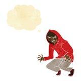 muchacho dañoso de la historieta en top con capucha con la burbuja del pensamiento Foto de archivo