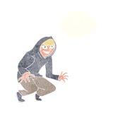 muchacho dañoso de la historieta en top con capucha con la burbuja del pensamiento Imagen de archivo