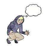 muchacho dañoso de la historieta en top con capucha con la burbuja del pensamiento Imágenes de archivo libres de regalías