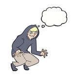 muchacho dañoso de la historieta en top con capucha con la burbuja del pensamiento Foto de archivo libre de regalías