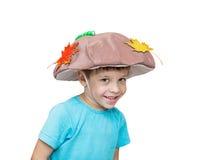 Muchacho de cinco años en el traje de la seta, traje Foto de archivo libre de regalías