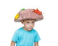 Muchacho de cinco años en el traje de la seta, traje Fotografía de archivo libre de regalías