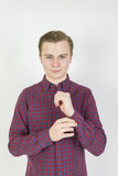 Muchacho de dieciséis años lindo en estudio Foto de archivo
