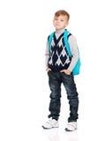 Muchacho de escuela con el morral Foto de archivo