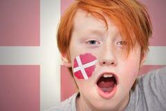 Muchacho de la fan del pelirrojo con la bandera danesa pintada en su cara Fotos de archivo
