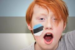 Muchacho de la fan del pelirrojo con la bandera estonia pintada en su cara Fotografía de archivo libre de regalías