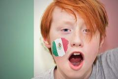 Muchacho de la fan del pelirrojo con la bandera mexicana pintada en su cara Foto de archivo libre de regalías